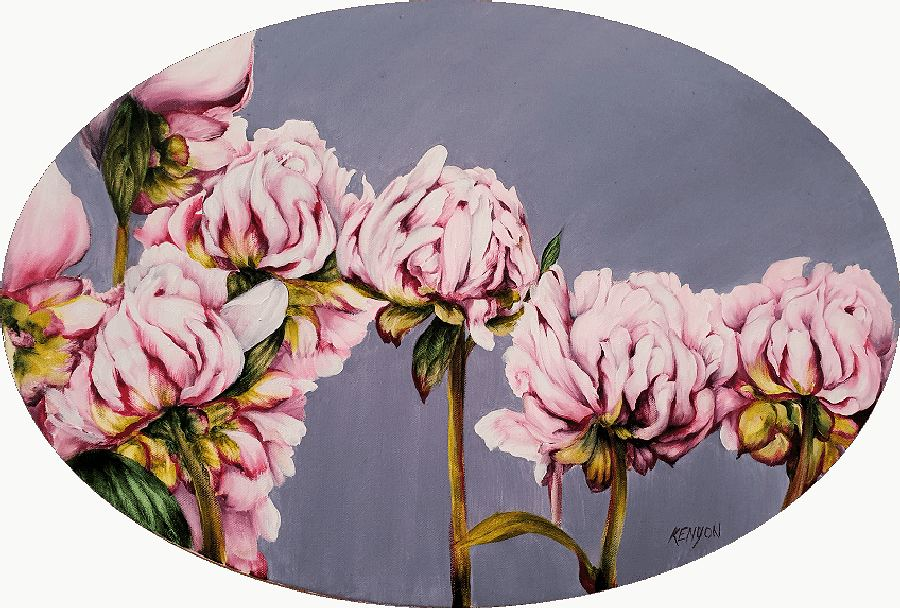 Peonies. Oil painting by South African artist Estelle Kenyon.