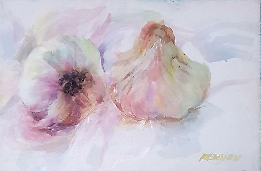 Garlic Study. Painting by Estelle Kenyon.