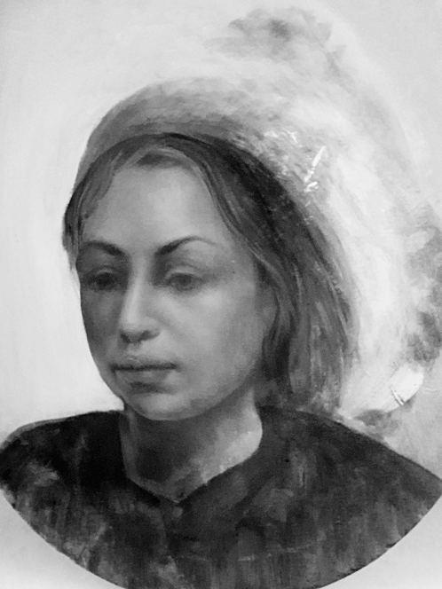 Monochrome Portrait Study. Painting by Estelle Kenyon.