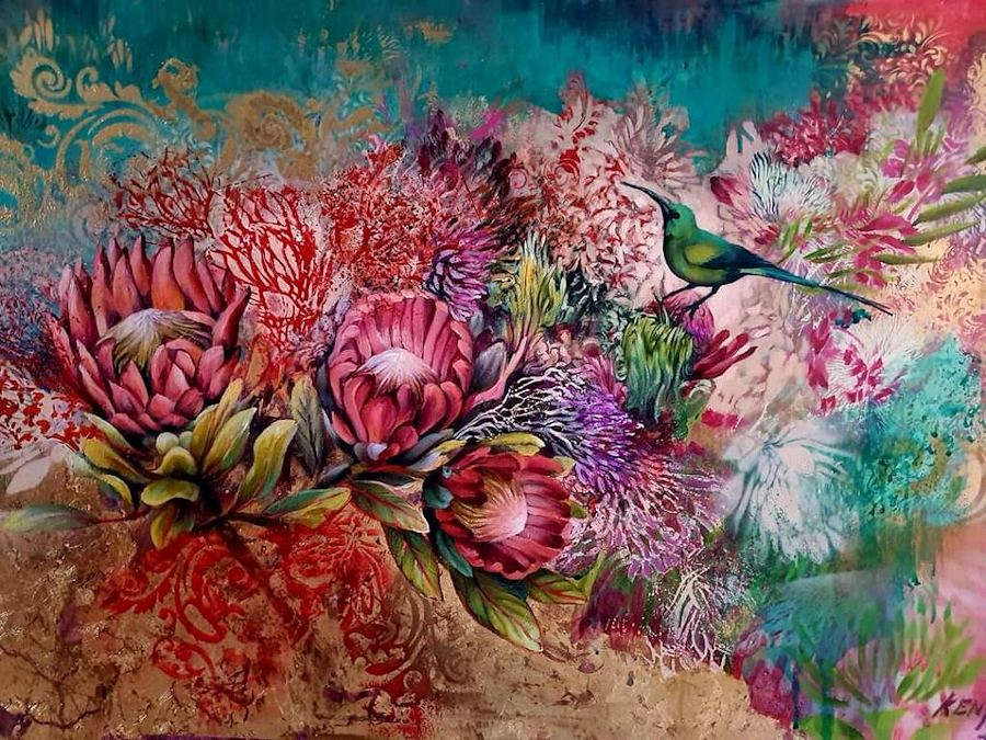 Witnessing the Fynbos. Painting by Estelle Kenyon
